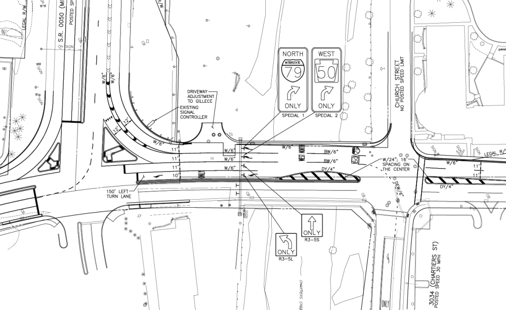 Concept drawing of a proposed improvement to the Route 50/Washington Pike intersection.