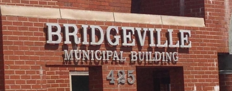 The address sign on the Bridgeville Municipal Building