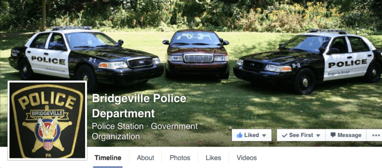 A screencap of the front page of the Bridgeville Police Department Facebook page