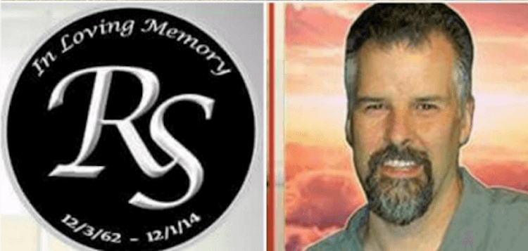 """An image of the late Ron Schott, alongside an emblem that reads """"in loving memory."""""""