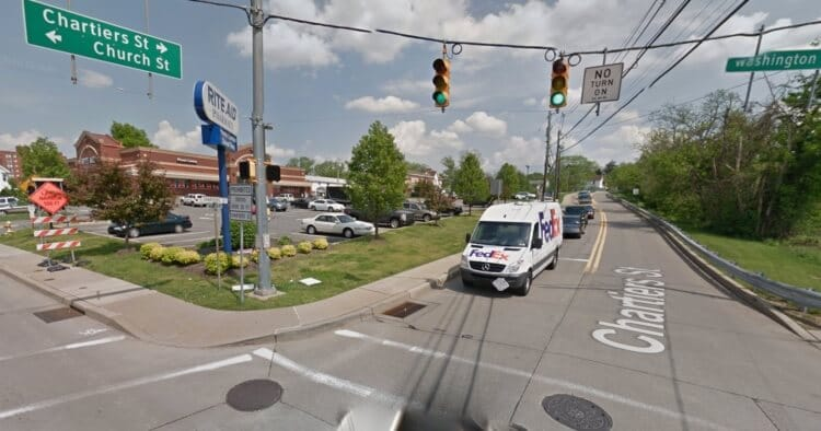 The intersection of Washington Avenue and Chartiers Street as seen from Google Maps Street View