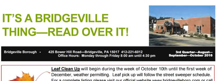 A screencapture of the Bridgeville Borough newsletter