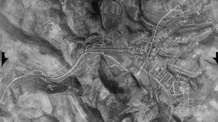 An aerial photo of the Greater Bridgeville Area circa 1937-1942.
