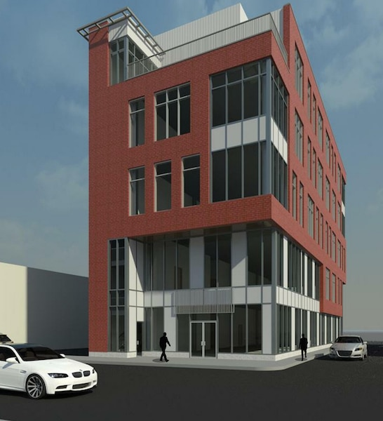A rendering of the 5-story office building planned for 625 Washington Avenue in Bridgeville