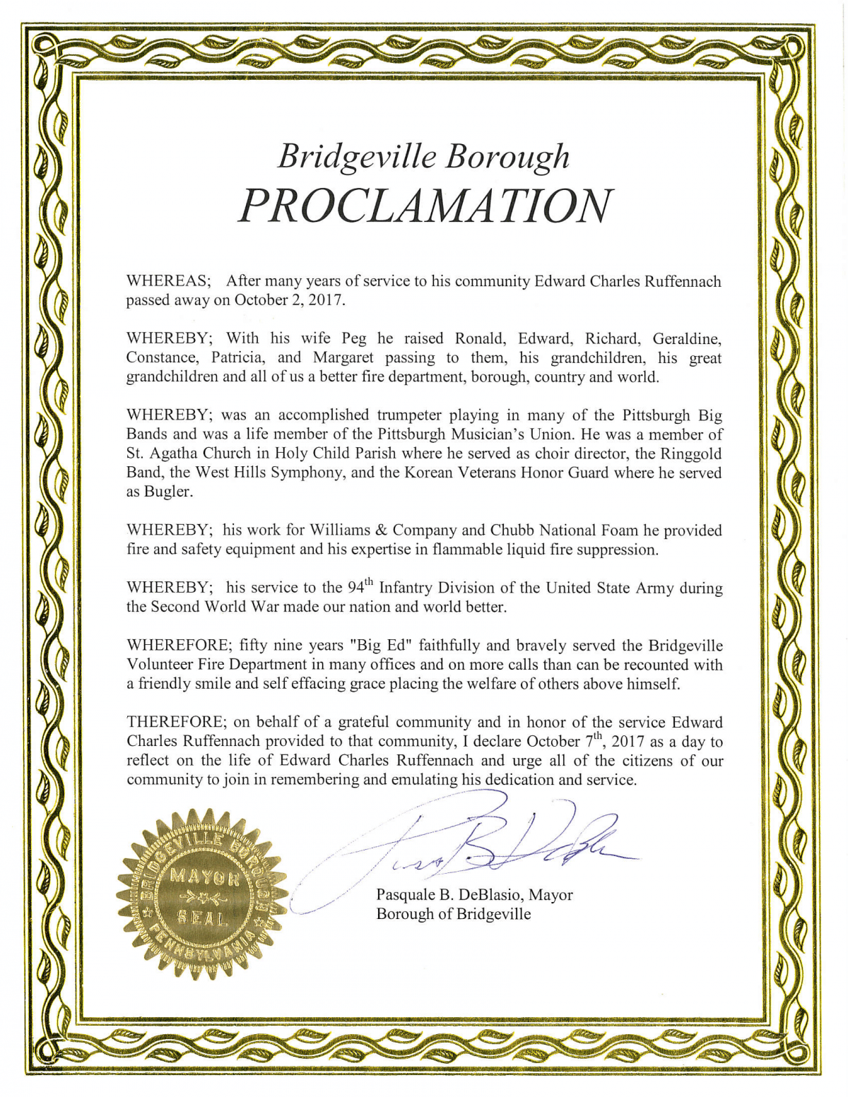 Full text of Bridgeville Mayor Pat DeBlasio's proclamation announcing Oct 7 as a day to honor the memory of Ed Ruffennach