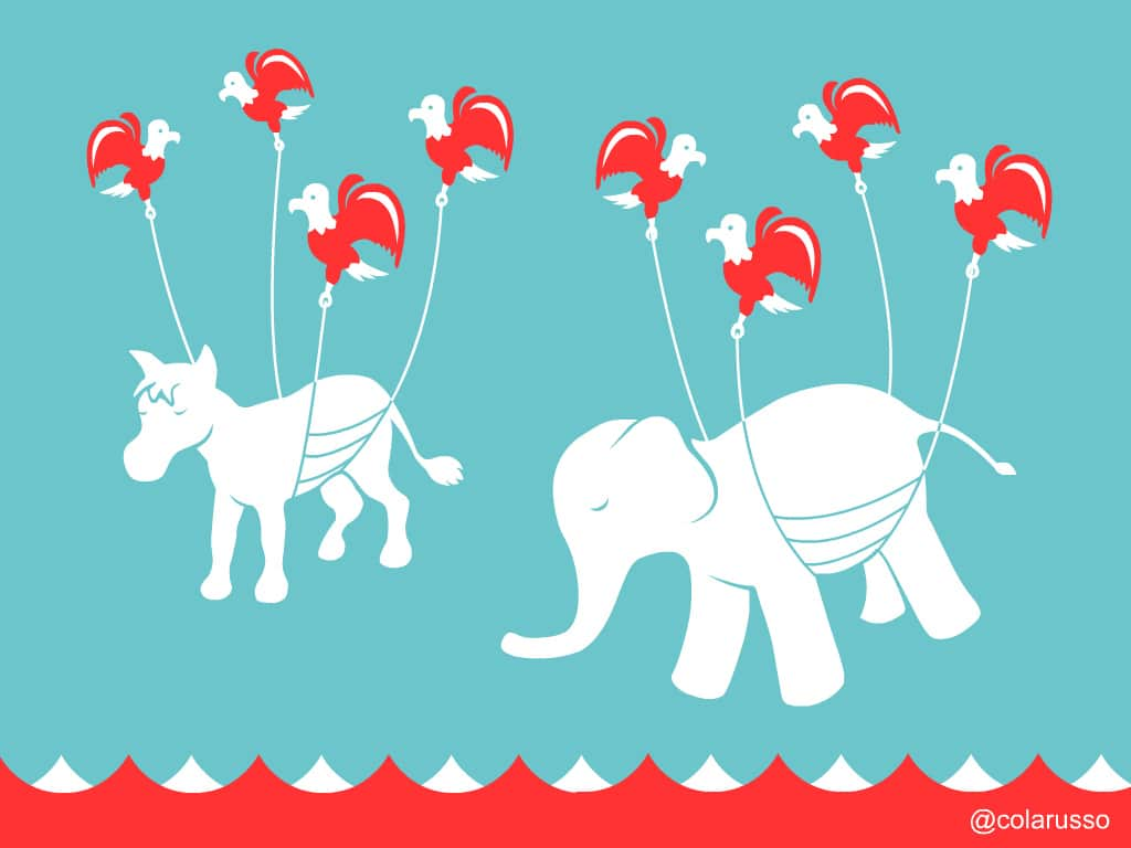 """The Democratic and Republican mascots rendered as the Twitter """"FailWhale"""""""