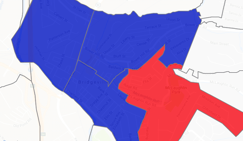 a screen capture of the 2017 bridgeville electoral map showing three precincts blue for democrat and one red for republican