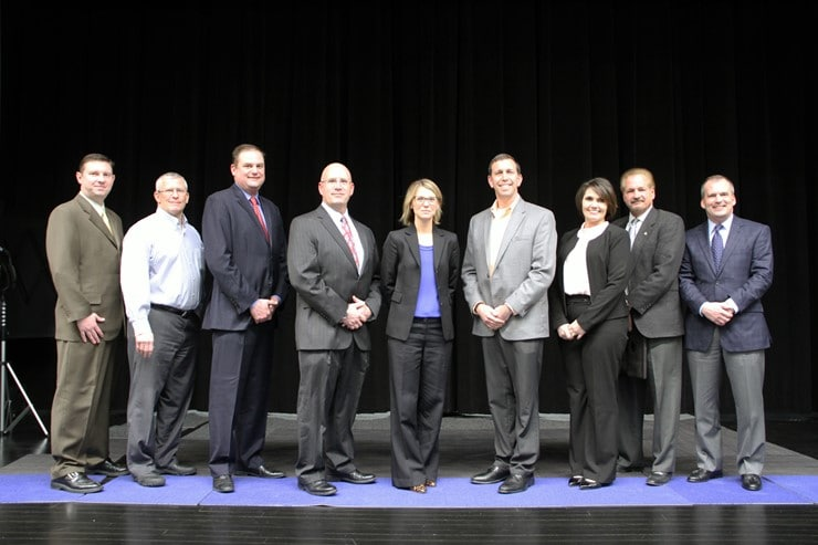 Dr. Vanatta poses with the CVSD Board of School Directors following the announcement of her hiring. (l to r - Brian Kopec, Bob Kearney, Eric Kraemer, Anthony Mazzarini, Dr. Johannah Vanatta, Mark Kuczinski, Sandy Zaleznik, Jeff Choura, Darren Mariano)