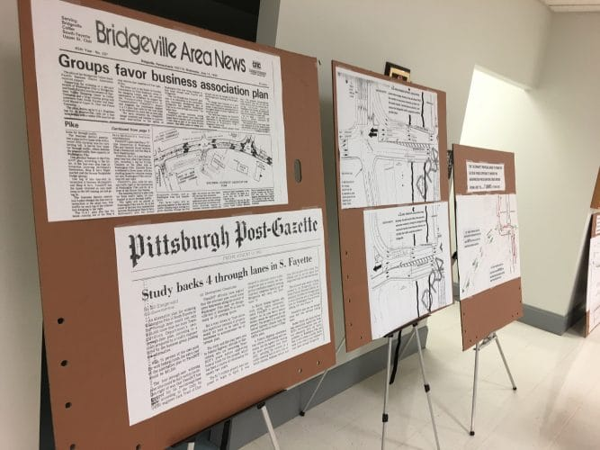At an April 2018 meeting concerning upcoming PennDOT construction, Bridgeville resident Bob Fryer displayed print-out about concerns that he felt were not being addressed.