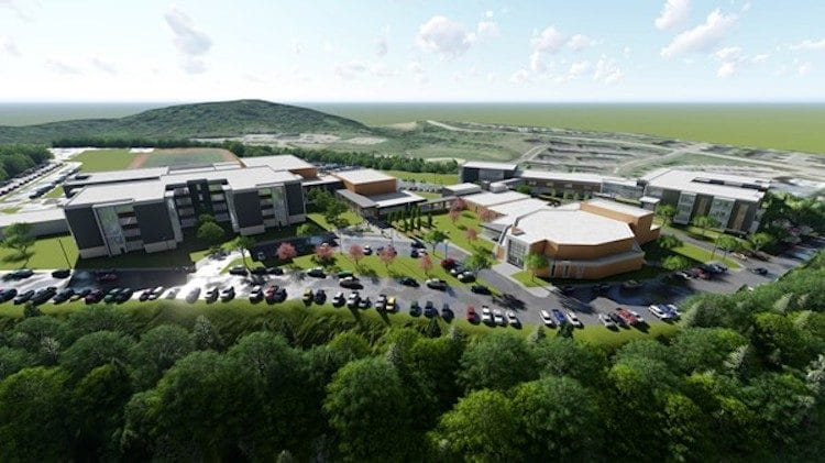 An aerial view of the Chartiers Valley High School-Middle School campus
