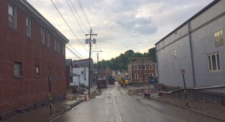A photo of Bridgeville's Baldwin Street following the June 2018 flood that swept through the rea.